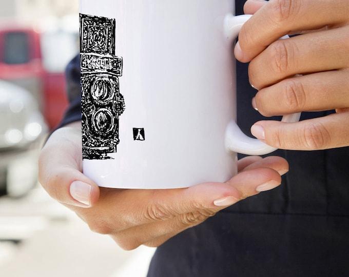 KillerBeeMoto: U.S. Made Coffee Mug With Vintage Hand Drawn Camera Design