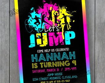 Trampoline Party Invitation - Bounce House Invitation - Jump Invitation -  Trampoline Invitation -  Trampoline Birthday Invitation