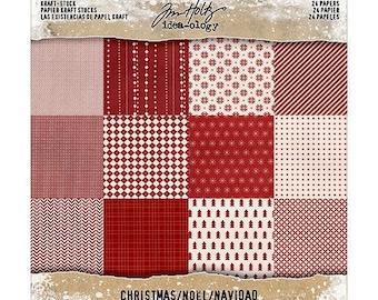 Advantus - Tim Holtz - Idea-ology Collection - 8 x 8 Kraft Paper Stash - Christmas
