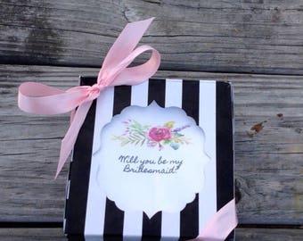 Bridesmaid ask box/matron of honor/box/kate spade look will you be my bridesmaid
