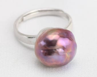 Baroque pearl ring,12mm natural metallic purple color,freshwater pearl ring,big pearl ring,silver open ring,unique ring,unique gift for her