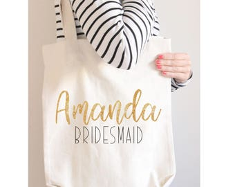 Personalized Bridal Tote Bag, Bridesmaid Tote Bag, Maid of Honor Tote Bag, Wedding Party Tote Bags, Bridesmaid Gift, Wedding Party Gift