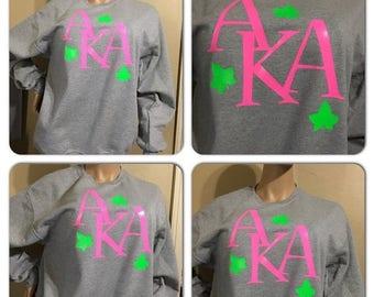 ON SALE Aka neon pink and green sweatshirt / Alpha Kappa Alpha/ 1908/ Pink and Green/ Custom AKA