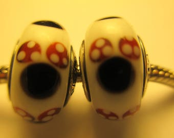 Set of 2 Authentic Pandora 925 Ale Silver Disney Minnie Glass Beads Charms