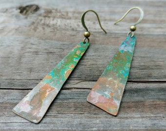 Abstract Earrings #2 - Patina Copper Flats - Patina Jewelry