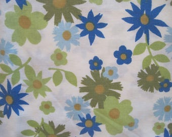 Cannon Monticello Pillowcase, Woodland, Flowers, Blues and Greens, Vintage, Poly-Cotton
