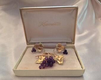 Vintage Krementz 14KT Gold Filled, Genuine Amethyst, Grapes Cluster Brooch & Earrings Set