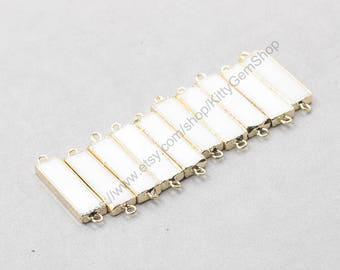 White Ceramic Bar Connectors -- With Electroplated Gold Edge Onyx Charms Wholesale Supplies YHA-300