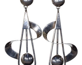 Funky Large Silver Vintage Earrings