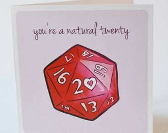 Geeky Romance Card, D20 Natural 20 Design, sweet nerdy valentine tabletop rpg gaming d&d cards