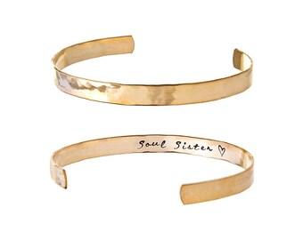 Soul Sister Bracelet | Personalized Bracelet |Hammered Effect Gold, Rose Gold, Silver Bracelet | Soul Sister Gift Ideas | Soul Sisters