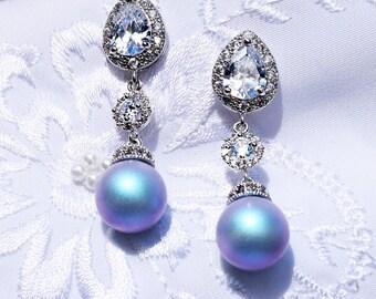 Blue Wedding Jewelry 625ER Light BLUE Pearl Pear CZ Earrings. White gold Blue Pearl Earrings. Blue Wedding Earrings CZ Bridal Jewelry Pearl