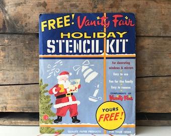 Vintage Holiday Stencil Kit Vanity Fair Christmas Window Stencils Seasons Greetings