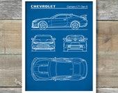 Auto Art, Patent Print, Chevrolet Camaro ZL1 Gen 6 Blueprint, Chevrolet Camaro Poster, Car Art, Auto  Decor, P519