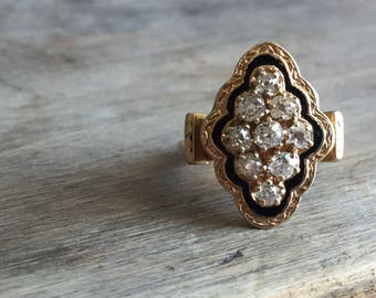 RESERVED Payment 2/4 Antique old mine cut diamond and enamel ring 14K