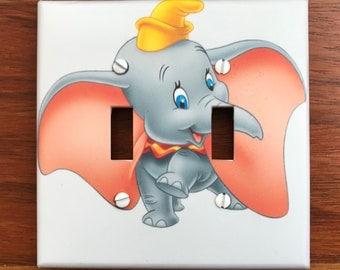 Dumbo light switch plate cover baby nursery // circus wall plate light switch // Personalized or not // SAME DAY SHIPPING**