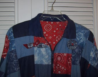Jacket XL, Patchwork Cotton Jacket by Marguerite Rubel of San Francisco, STUNNING ! see details