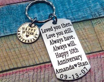 Anniversary Gift, Year anniversary, Gift For Husband, 10th Wedding anniversary, gift for men, 10 year wedding anniversary, custom keychain