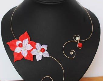 White red wedding Necklace (or ivory) wedding Valentine pattern
