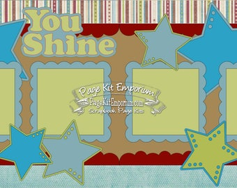 Scrapbook Page Kit You Shine Stars Die Cuts 2 page Scrapbook Layout Kit 099