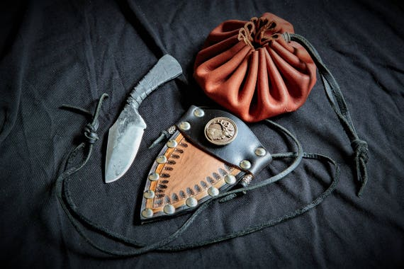 Hand Forged Knife and Neck Sheath - Forged by Josh Weston Forged in Fire Champ!!!