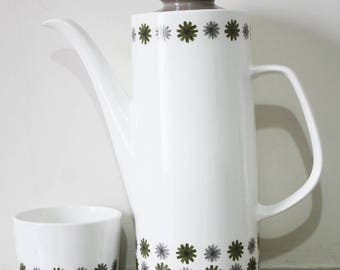 J & G Meakin Studio Coffee Pot and Sugar Bowl. Allegro Pattern