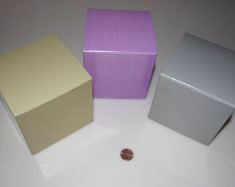 """Mrs. Grossman's Gift Box Boxes 4"""" Square - Multiples Available, Order by Color & Quantity, Gold/Tan, Marbled Lavender/Purple, Silver/Gray"""