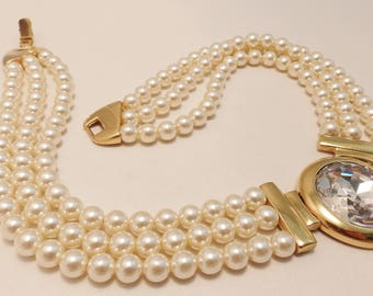 Gold Tone Napier Large Crystal Multistrand Faux Pearl  Statement Necklace