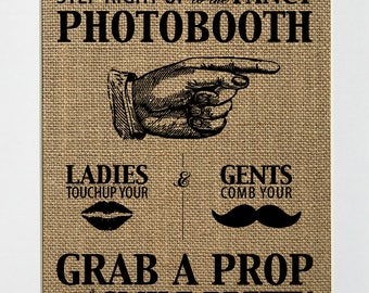 UNFRAMED Photo Booth / Burlap Print Sign 8x10 / Rustic Vintage Shabby Photography Photo Booth Props Sign Wedding Decor Sign Party Decor Sign