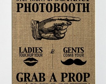 Wedding burlap sign photobooth photography props sign cute rustic wedding theme lips mustache vintage sign style 8x10