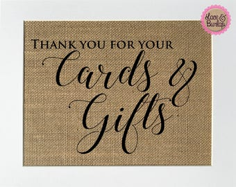 UNFRAMED Thank you for your Cards & Gifts Rustic Theme / Burlap Print Sign  5x7 8x10 / wedding engagement gift shower decor