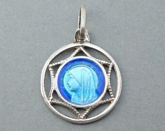 French, Antique Religious Sterling Pendant. Saint Virgin Mary. Bernadette Soubirous Lourdes. Silver. Blue Enamel Medal. 170623 1 E
