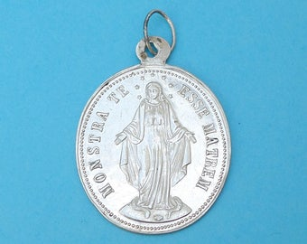 French, Antique Religious Large Sterling Pendant. Saint Virgin Mary, Miraculous Silver Medal. 170623 1 F