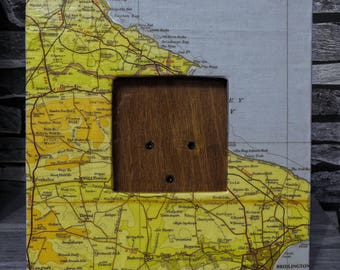 Upcycled map picture frame UK North Yorkshire Coast