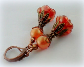 Orange Earrings, Orange Druk Dangles, Tangerine Earrings, Orange Bell Flowers, Bell Flower Earrings, Czech Druk Earrings, Handmade Florals