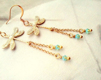 Dragonfly Earrings, Swarovski Dangles, Fairy Earrings, Dragonfly Dangles, Handmade Chain Dangles, Gypsy, Boho, Nature Jewelry, Bridal,  Gift