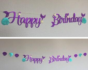 Happy Birthday banner, Little Mermaid Ariel, Mermaid Script Cursive Letters, Party Decor, starfish, Sea Shells