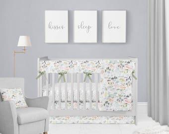 Nature Walk Crib Bedding Set. Baby Bedding. Adventure Baby Bedding. Baby Shower Gift. Woodland Nursery. Adventure Nursery.