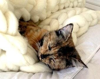 """ON SALE Chunky Knit Merino Blanket, 60""""x 60"""", Knit Wool Blanket, Chunky Knit, Super Chunky Knit, Giant Knit, Extreme Knit, Super Chunky Knit"""