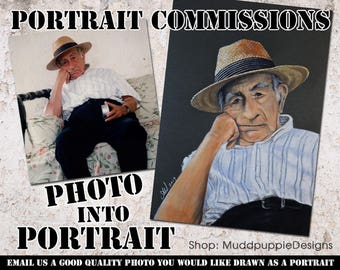 PORTRAIT COMMISSIONS Custom made hand drawn portraits Lifestyle wall art Colour and monochrome portraits. For him and for her.