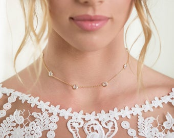 Gold Crystal Choker Necklace, Necklaces for Women, CZ crystal choker, Bridal Jewelry, Dainty Accessories, Layering Wedding Necklace N063-G