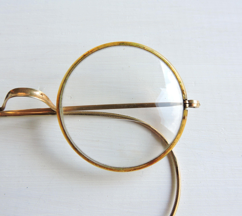 57eab1a22 Vintage Round Windsor Eyeglasses, Gold Antique Bifocals, Marked Windsor Eye  Glasses, Celluloid Eyerims, Saddle Bridge, ...