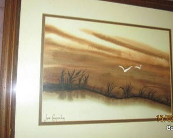 Lake,Birds framed. Signed.