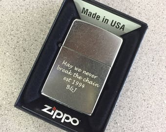 Personalized Zippo Lighter, Zippo Classic Street Chrome Lighter, Groomsmen Gifts, Birthday Gift, Father's Day Gift, Laser Engraved  - Z207L
