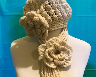 Crochet flower Scarf and hat set