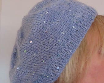 Hand knit light blue beret with sequins