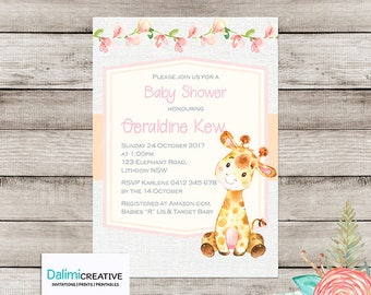 Baby Shower Invitation - Giraffe Baby Shower Invitation - Cute Shower Invitation - Printable Invitation - Personalised - Digital File!
