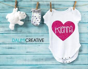 Glitter Name Personalised Onesie Bodysuit - Personalised Baby Shower Gift!
