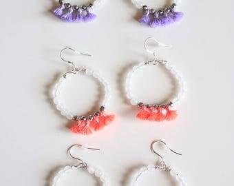 Gemstone Hoop Tassel Earrings