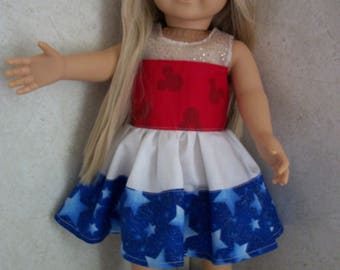 """Red, white and blue dress for 18"""" doll"""